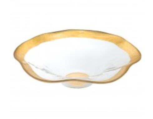 "$34.50 Bowl - Round Wave 8"" Gold"