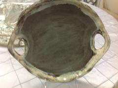 Etta B Pottery   Platter Rd Open Handles Gray $73.00