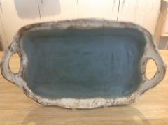 Etta B Pottery   Platter Rec w/open Hndls Peaceful Waters $84.00