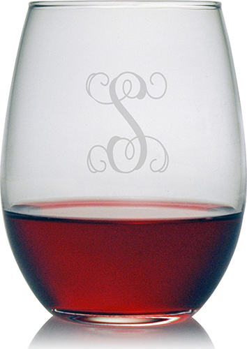 $60.00 Stemless Wine Glass w/monogram - set of 4