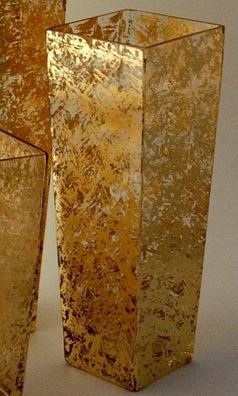 """Tamara Childs  Gold Tapered Square Vase 16"""" Wabi Sabi $135.00"""