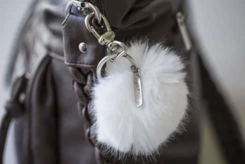 $40.00 Faux Fur Pom Pom Key Ring (White)