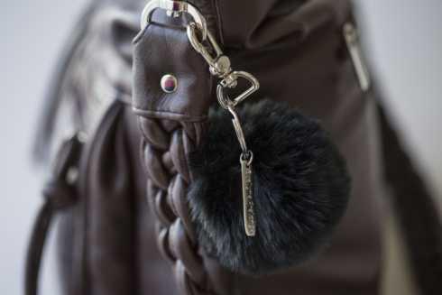 $40.00 Faux Fur Pom Pom Key Ring (Noir)