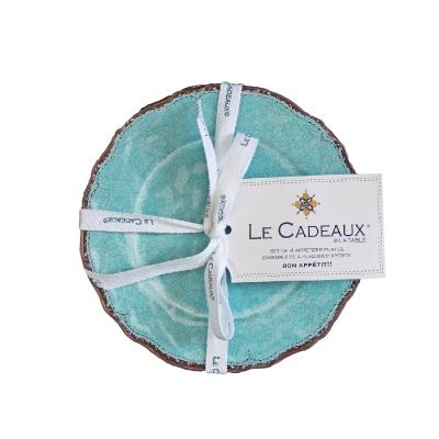 Le Cadeaux   Turquoise Appetizer Plate Set (4) $31.50