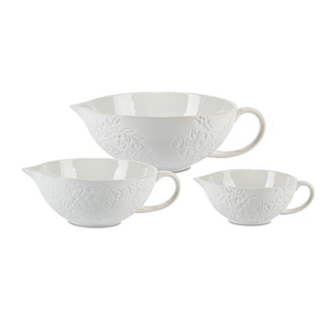 $160.00 Set of 3 Stoneware Floral Bowls