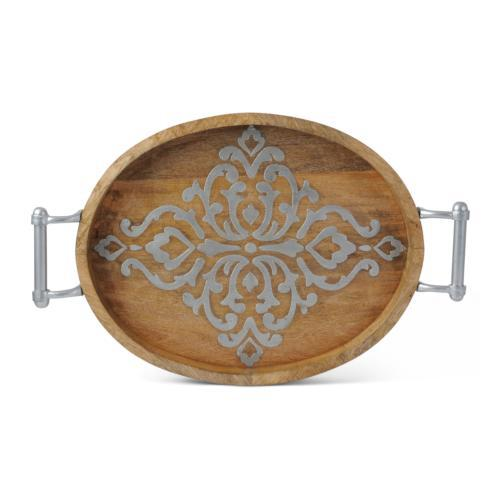 Wood with Inlay  Oval Tray collection with 1 products