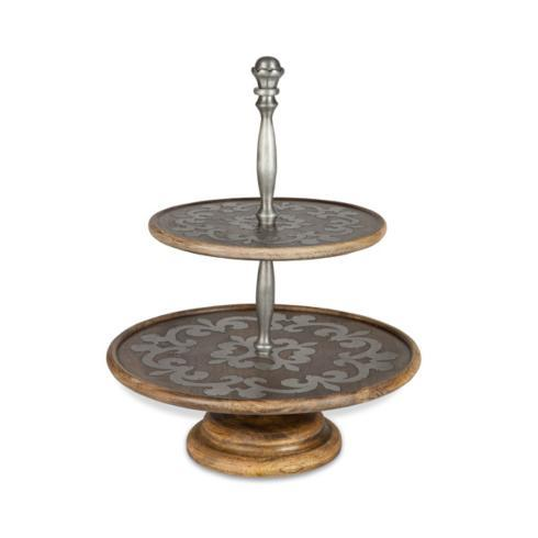 Gracious Goods   Mango Wood Two Tiered Tray  $220.00