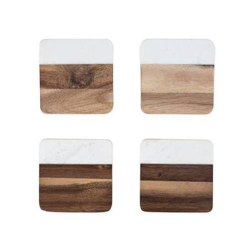 Marble and Wood  Set of 4 Coasters  collection with 1 products