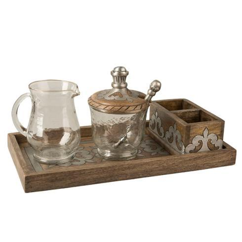Mango Wood Cream Sugar Tray  collection with 1 products