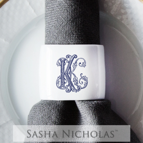 Sasha Nicholas   Oval Napkin Ring with mongram $28.00
