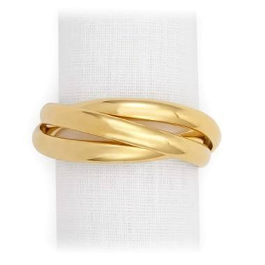 $150.00 Jewel Gold Three Ring Napkin Ring - Set of 4