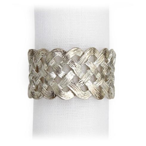 $128.00 Matte Platinum Braid Napkin Rings - Set of 4