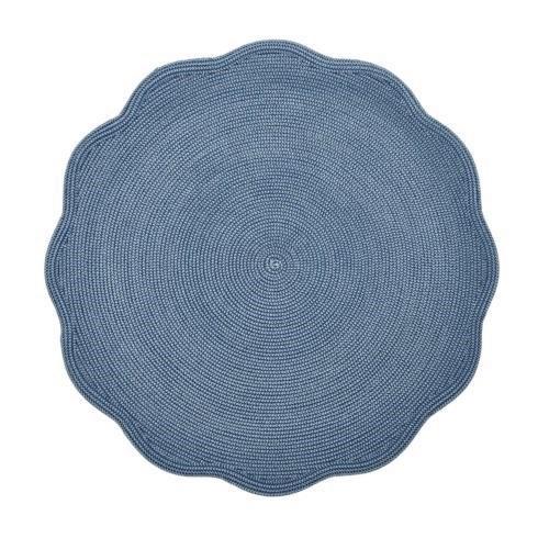 Deborah Rhodes   Round Scalloped Colony Blue Placemat $32.00