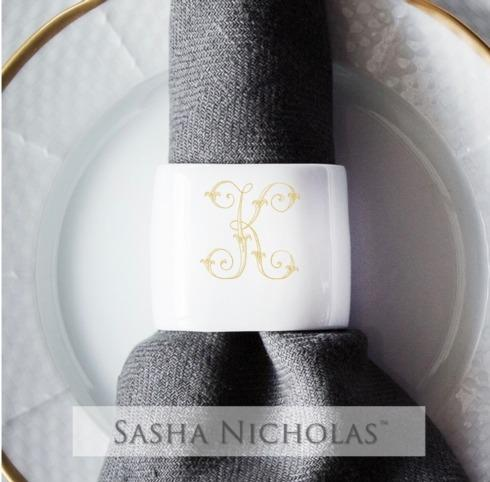 $31.00 Oval Napkin Ring With Gold Monogram