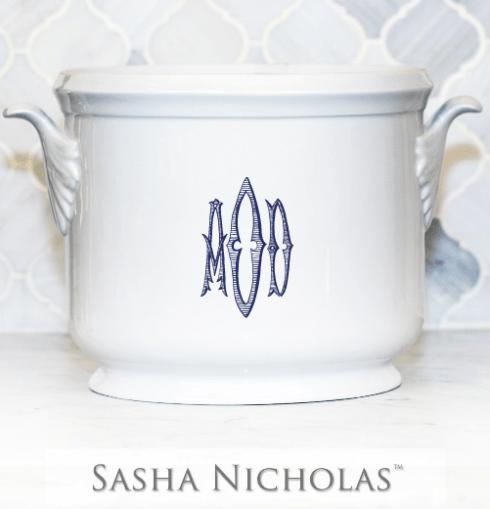 Sasha Nicholas   Leaf Handled Champagne Bucket with Monogram $185.00