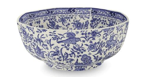 Burleigh Pottery   Blue Regal Peacock Octagonal Serving Bowl $75.00