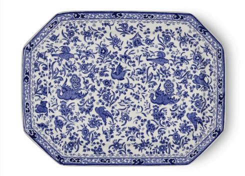 Burleigh Pottery   Blue Regal Peacock Rectangular Platter $115.00