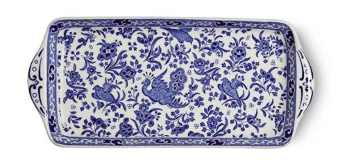 "Burleigh Pottery   Blue Regal Peacock 11"" Sandwich Tray $75.00"