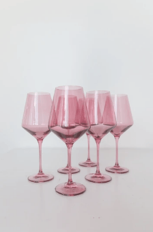 "Estelle Colored Glass   Wine Glass (Set of 6) Rose 9.5"" Tall 16.5oz $175.00"