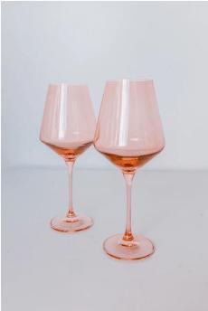 Estelle Colored Glass   Wine Blush Pink (Set/2) $75.00