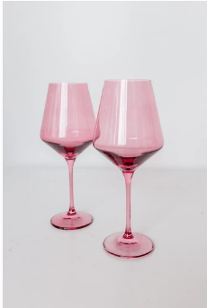 Estelle Colored Glass   Wine Rose (Set/2) $75.00