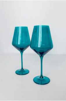 Estelle Colored Glass   Wine Teal (Set/2) $75.00