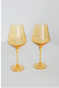 Estelle Colored Glass   Wine Yellow (Set/2) $75.00