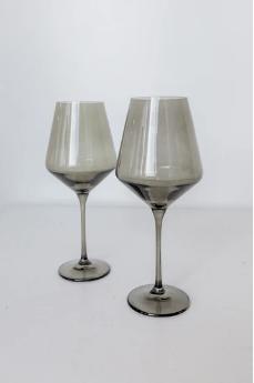 """$75.00 Wine Glass (Set of 2) Smoke 9.5"""" Tall 16.5oz."""