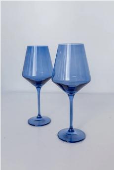 Estelle Colored Glass   Wine Cobalt Blue (Set/2) $75.00