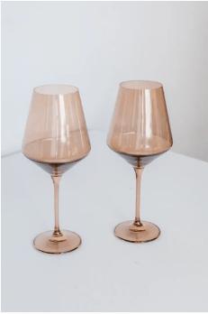 """$75.00 Wine Glass (Set of 2) Amber Smoke 9.5"""" Tall 16.5oz."""