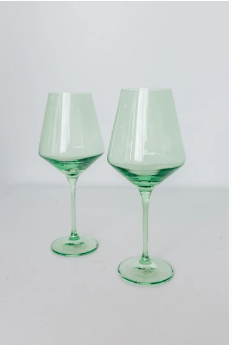 Estelle Colored Glass   Wine Mint Green (Set/2) $75.00