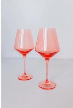 Estelle Colored Glass   Wine Coral Peach Pink (Set/2) $75.00