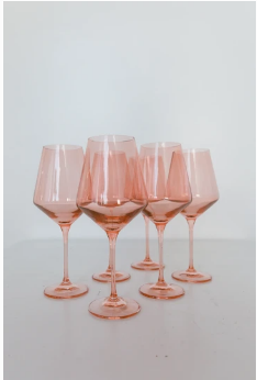 "$175.00 Wine Glass (Set of 6) Blush Pink 9.5"" Tall 16.5oz."