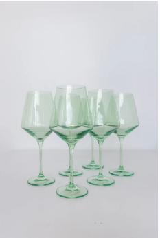 """$175.00 Wine Glass (Set of 6) Mint Green 9.5"""" Tall 16.5oz."""