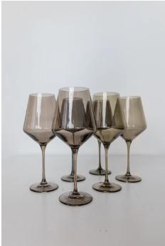 """$175.00 Wine Glass (Set of 6) Gray Smoke 9.5"""" Tall 16.5oz."""