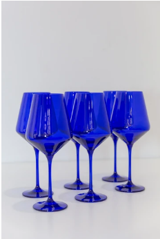 "$175.00 Wine Glass (Set of 6) Royal Blue 9.5"" Tall 16.5oz."