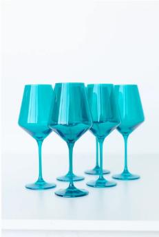 "$175.00 Wine Glass (Set of 6) Teal 9.5"" Tall 16.5oz."