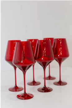"""$175.00 Wine Glass (Set of 6) Red 9.5"""" Tall 16.5oz."""
