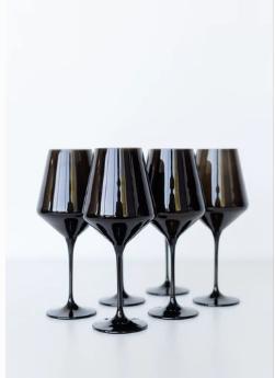 """$175.00 Wine Glass (Set of 6) Black 9.5"""" Tall 16.5oz."""