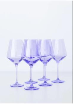 "$175.00 Wine Glass (Set of 6) Lavender 9.5"" Tall 16.5oz."