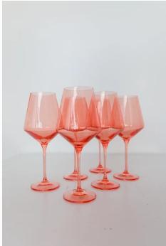 "$175.00 Wine Glass (Set of 6) Coral Peach 9.5"" Tall 16.5oz."