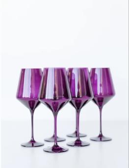 "$175.00 Wine Glass (Set of 6) Amethyst 9.5"" Tall 16.5oz."