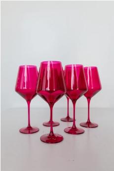 "$175.00 Wine Glass (Set of 6) Fuchsia 9.5"" Tall 16.5oz."