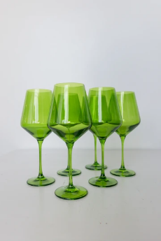 """$175.00 Wine Glass (Set of 6) Forest Green 9.5"""" Tall 16.5oz."""