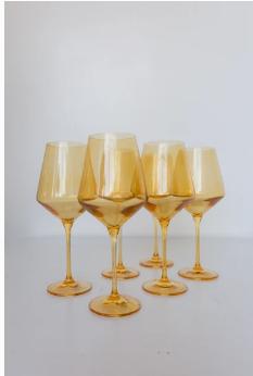 "$175.00 Wine Glass (Set of 6) Yellow 9.5"" Tall 16.5oz."