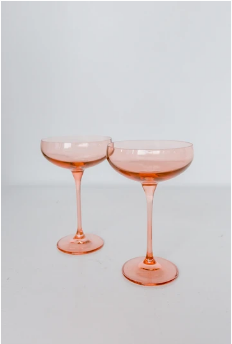 Estelle Colored Glass   Champagne Coupe Blush Pink (Set/2) $85.00