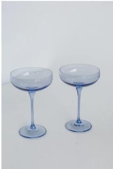 Estelle Colored Glass   Champagne Coupe Cobalt Blue (Set/2) $85.00