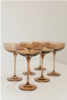 $195.00 Champagne Coupe Blush Amber Smoke (Set/6)