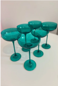 $195.00 Champagne Coupe Emerald Green (Set/6)