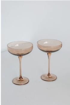 $85.00 Champagne Coupe Amber Smoke (Set/2)